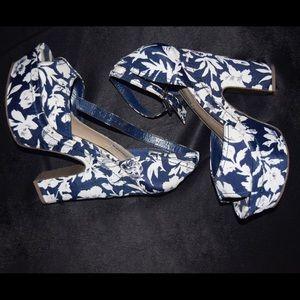 Blue Floral Platform Sandals